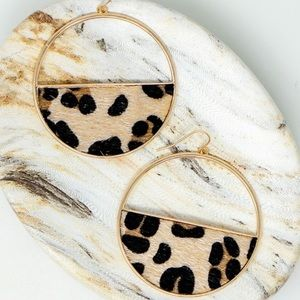 Half Circle Leopard Print Earrings